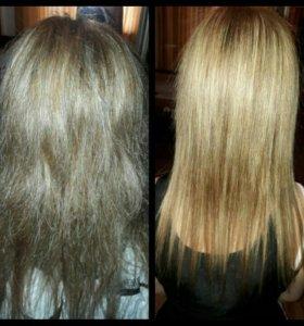Кератиновое Выпрямление волос и полировка.