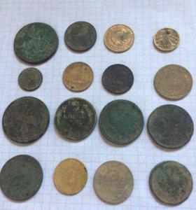 Древние монеты 16 штук