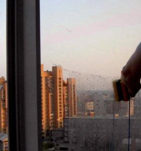 Двухсторонняя магнитная щётка для окон. Новая.