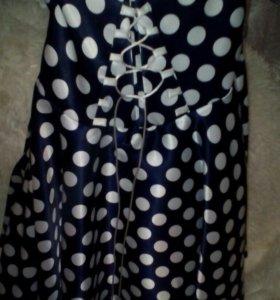 Синие платье в горошек