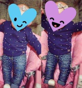 Джинсы детские на малышку с жемчугом