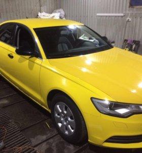 Оклейка авто такси жёлтой плёнкой