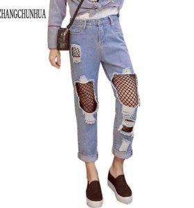 Mom джинсы с сеткой завышенная талия