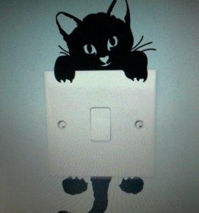 Наклейки на выключатель ручку двери кошки мышки