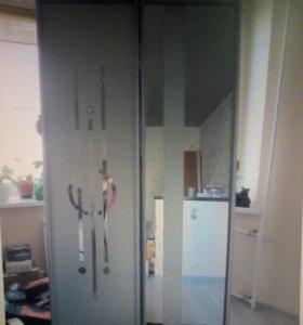 Две зеркальные двери.