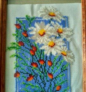 Вышивка бисером Ромашки