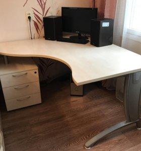 Офисный стол+ тумбочка в подарок!!
