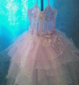 Платье детское, розовое, с ободком, для девочки