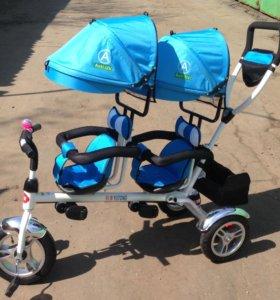 Велосипед для двойни, трицикл Twin, новый в коробк