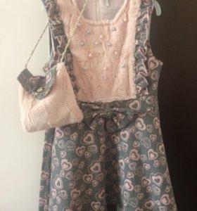 Платье шерстяное с сумочкой детское