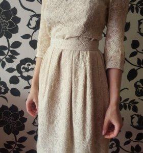 Платье бежевое. S/XS