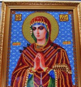 Семистрельная икона Божией Матери. Вышита бисером