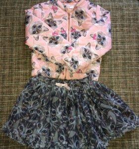 Комплект куртка + юбка с кошечками.