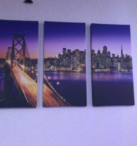 Модульная картина и фото-шторы