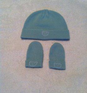 Шапка и рукавички mothercare