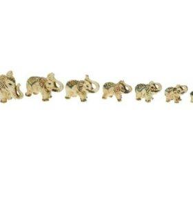 """Набор сувениров """"Слоны"""" лепка, цветные (7 предмет)"""