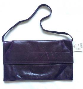 Новый кожаный клатч сумка темно-фиолетовый