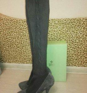 Туфли новые замшевые с чулком