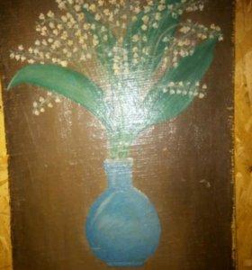 Ландыши в голубой вазе. Масло. Холст.