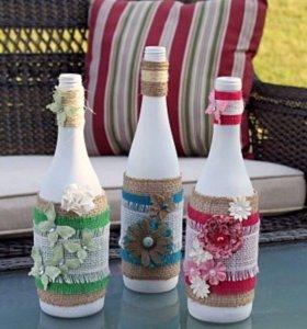 Свадебные бутылки в стиле рустик
