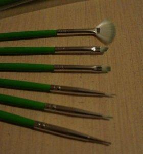 Набор кистей для дизайна ногтей (зелёные)