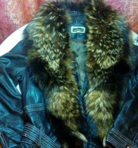 Куртка кожаная с воротником