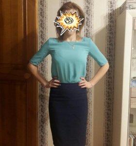 Блузка шелковая голубая