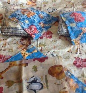 Набор для детской: шторы+тюль, покрывало+наволочки