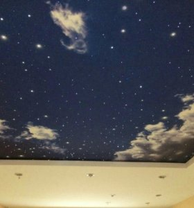 Натяжные потолки из ткани Звездное небо