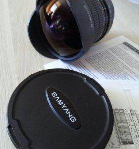 Обьектив Samyang 8mm f/3.5 для кенон