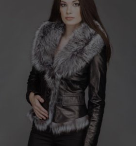 Кожаная куртка с натуральной чернобуркой