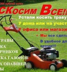 Покос травы, кустарников, вывоз мусора