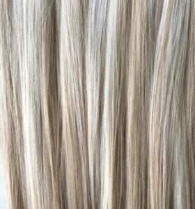 Волосы на заколках пшеничный блонд