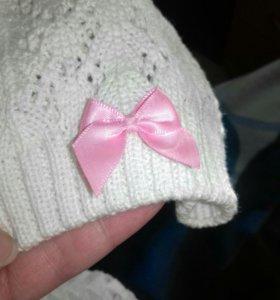 шапка для девочки до 1,5 лет