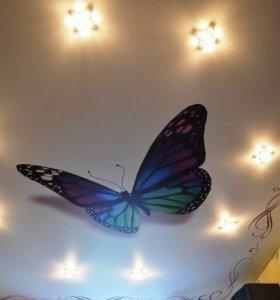 Потолок с арт-печатью и 8 светильников