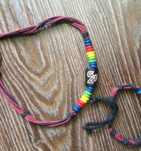 Набор шнуровка на шею и браслет