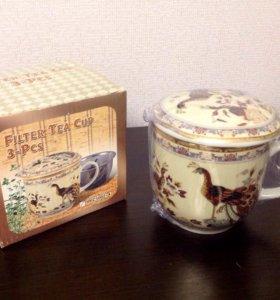 Кружка с ситечком и крышкой для заваривания чая