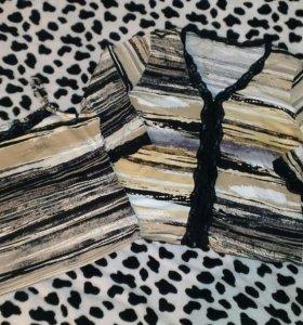 Джинсовая юбка, топ и кофточка