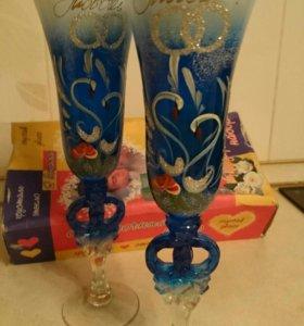 Свадебные бокалы + подарок
