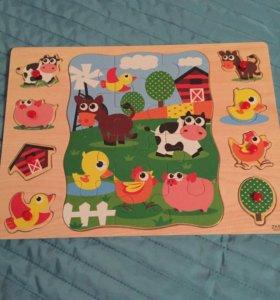 Рамка -вкладыш с пазлом'Ферма'Умные игрушки