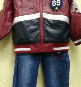 Костюм тройка,куртка под кожу подклад х/б