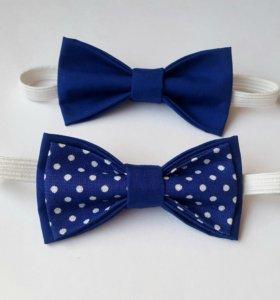 Синие детские бабочки-галстуки