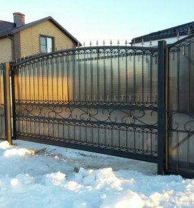 Кованые ворота, калитки, забор.