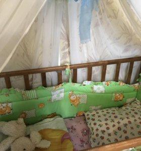 Кроватка+бортики+балдахин+матрац