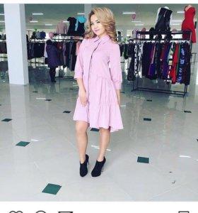 Комплект платье +Рубашка , только в бордовом цвете