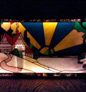 Картина из цветного стекла с подсветкой
