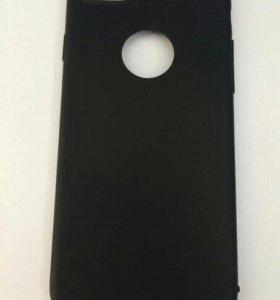 Чехол iPhone 7 силиконовый/черный/ под кожу