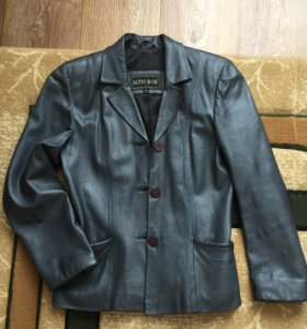 Кожаный пиджак серебристо серый, р 42-44