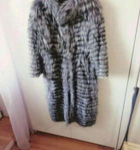 Вязаное пальто из чернобурки (шубка)