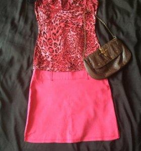 Яркая розовая летняя юбка